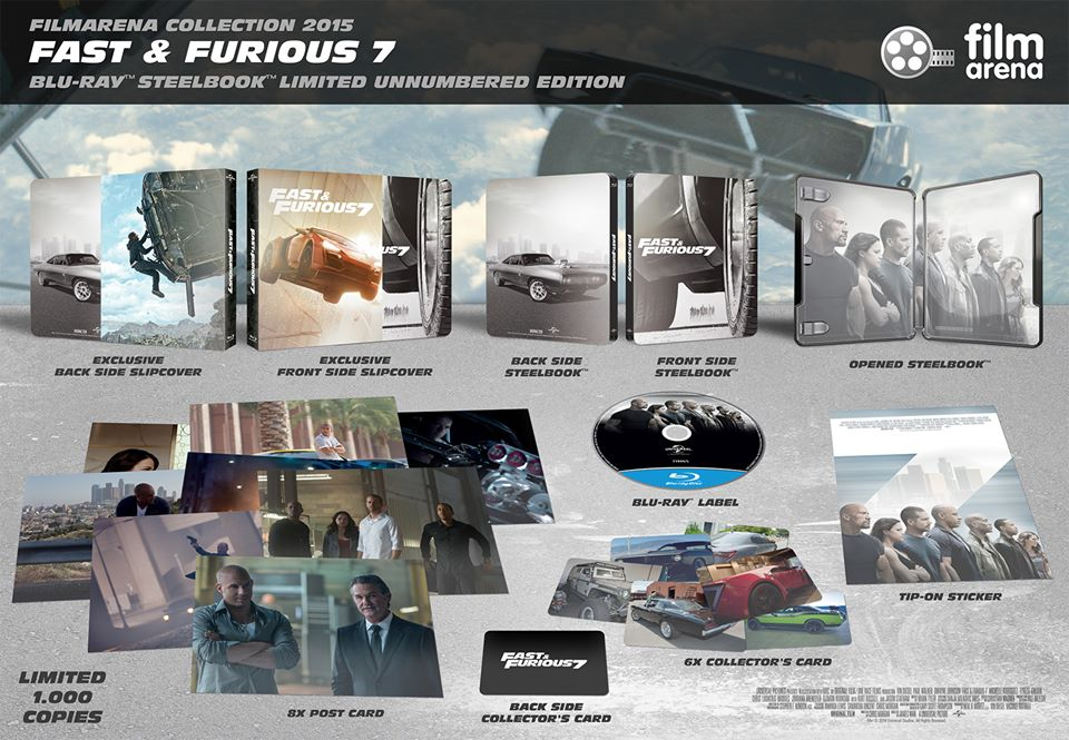 fast furious 7 unnumbered blu ray steelbook film. Black Bedroom Furniture Sets. Home Design Ideas