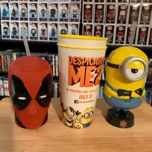 Deadpool and Dispicable Me cups