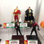 DC Figures going clockwise: Shazam!; Black Atom; Nightwing; and Catwoman