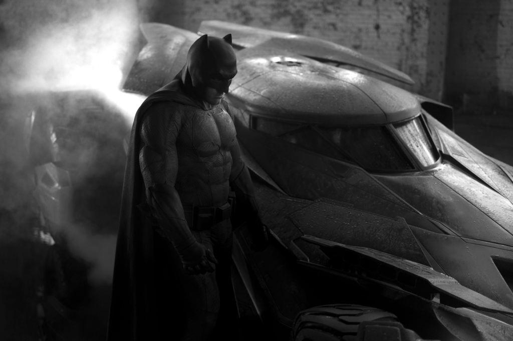 bat fleck and batmobile full
