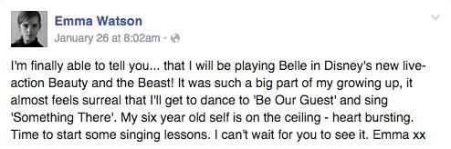 Emma Watson FB Announcement