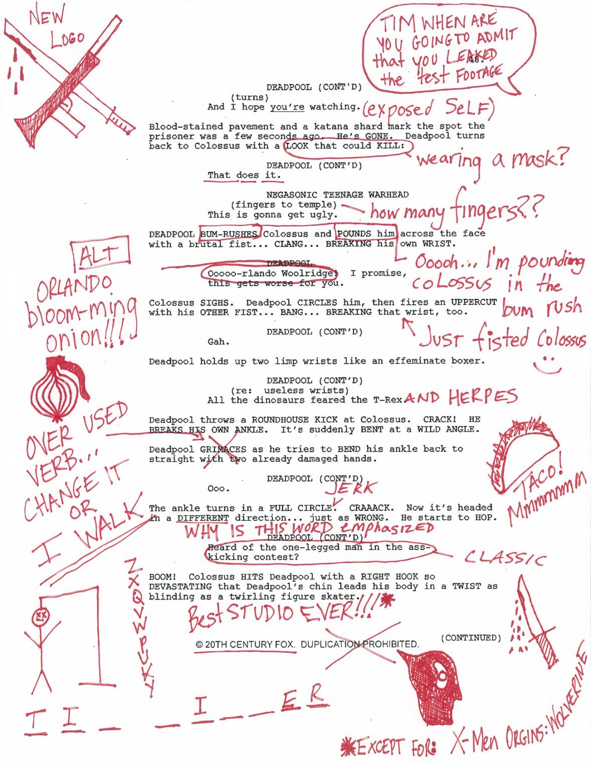 Deadpool script page