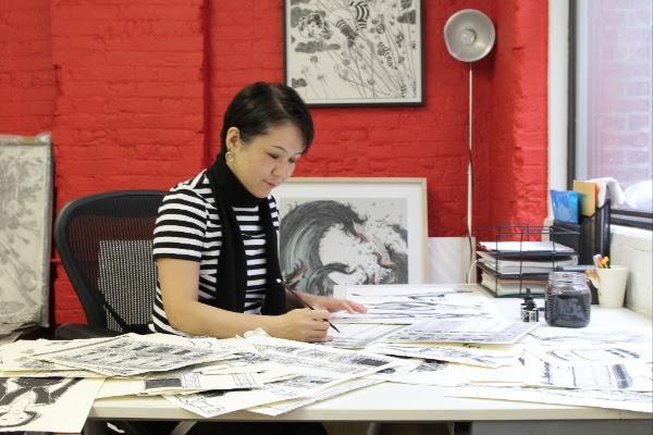 Artist Yuko Shimizu in her studio