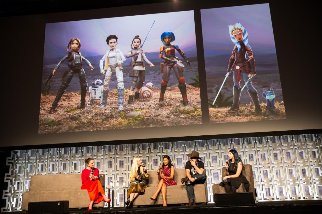 Daisy Ridley, Ashley Eckstein, Tiya Sircar with Hasbro Star Wars Forces of Destiny Adventure Figures