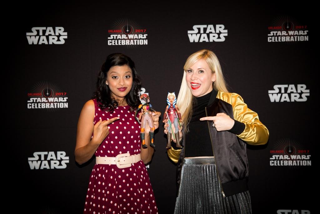 Tiya Sircar and Ashley Eckstein with Hasbro Star Wars Forces of Destiny Adventure Figures (2)