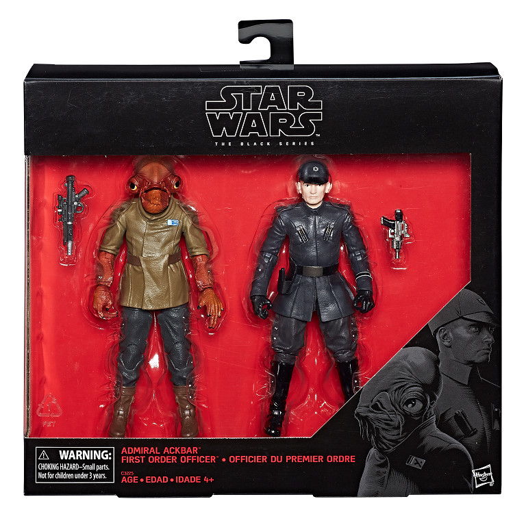 Star Wars The Black Series 6-Inch Admiral Ackbar and First Order Officer Figure 2-Pack